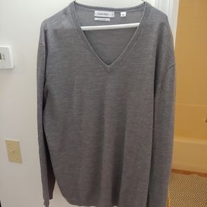 Men's Calvin Klein v neck sweater grey size xxl